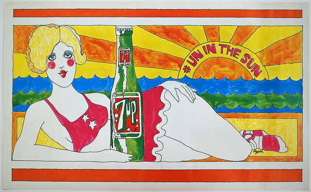 7Up_# Un in the Sun_vintage UnCola poster signed by Pat Dypold