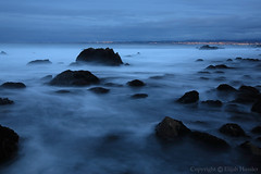Dante's Shore (right2roam) Tags: california longexposure blue seascape black water silhouette canon eos bay coast moving monterey seaside movement twilight rocks unitedstates action central wave blurred shore hour 5d pacificgrove etatsunis mygearandme  right2roam elijahhassler