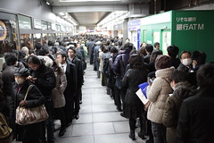 Electricity Shortage (Clark Tanaka) Tags: japan train earthquake que line explore  explored