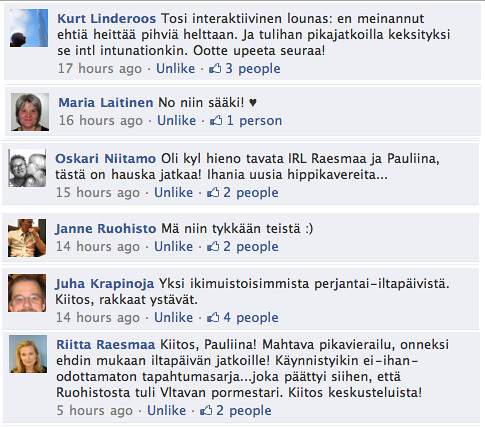 #taskulounas ja #friendtrepreneur kommentit