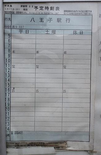 千木良発八王子駅行きのバスの時刻表