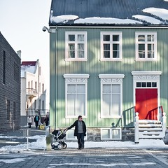 Staircase Shadows and Pram Angles (Magic Pea) Tags: windows house snow man photography photo iceland downtown shadows candid streetphotography angles streetlife reykjavik reddoor staircase unposed woodenhouse pram magicpea