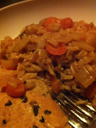 Grilled Chicken and Brown Rice-Carrot-Leek Pilaf