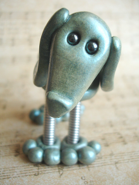 Blue Blue Robot Dog Sculpture - Front View