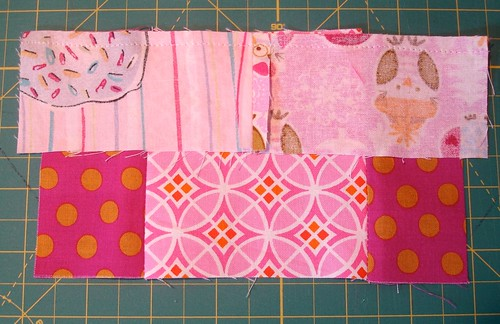 Altered Four Square Quilt Block Tutorial: Sewing the Top of the Framing Pair to the Block