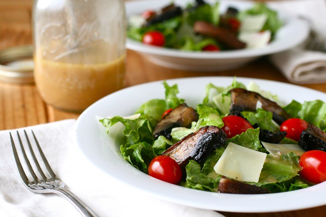 Mixed Greens with Dijon Vinaigrette and Roasted Portabellos