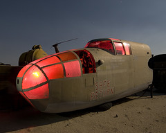 Safe Return (Lost America) Tags: lightpainting night airplane aircraft wwii fullmoon junkyard mitchell bomber derelict boneyard b25 northamerican explored