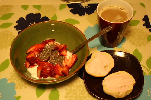 yogurt, strawberries, chia seeds, mini bagel with strawberry cream cheese