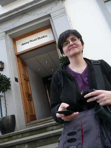 Hazel outside Abbey Road Studios