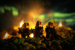 Red Hand Stormtrooper Squad (Shobrick) Tags: city red green fire star lego apocalypse lucas tiny stormtrooper wars custom destroyed weapons tactical dropping brickarms airdropped shobrick