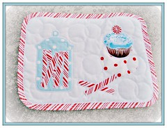 very first mug rug  ~ peppermint love (Pinks & Needles (used to be Gigi & Big Red)) Tags: red white aqua quilt stitch circles stripes cupcake quilted binding frosting beginner candyjar originaldesign peppermintcandy freemotionquilting fmq peppermintsticks mugrug gigiminor pinksandneedles startedapril1finishedapril1