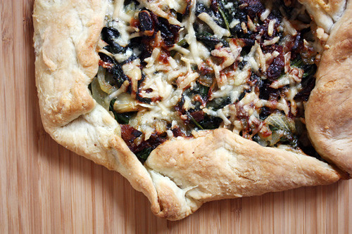 bacon, spinach & onion galette.