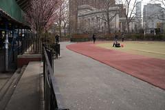 Manhattan Bridge and playground, Chinatown (Susan NYC) Tags: street nyc playground spring chinatown track tulips blossoms manhattanbridge