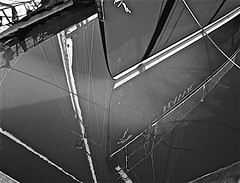 Harbor J Hawk Reflection ... (sswj) Tags: abstractreality bw harbor boat sailboat sausalito marincounty northerncalifornia composition water bay richardsonbay dslr fullframe scottjohnson nikon d600 nikkor28300mm availablelight existinglight reflection