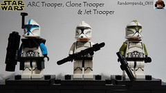 ARC Trooper, Clone Trooper & Jet Trooper (Star Wars Battlefront 1) (Random_Panda) Tags: star wars films film movie movies tv show shows television lego figs fig figures figure minifigs minifig minifigures minifigure purist purists character characters clone clones troops trooper troopers