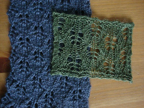 blue sock and green swatch