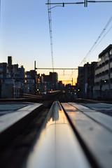 over the scenery (maaco) Tags: blue sunset sky 35mm tokyo nikon dof dusk railway scene nikkor stroll railwaytrack capturenx d7000