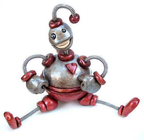 Silver Red Ned Storage Bot Robot Sculpture - Full Body Front
