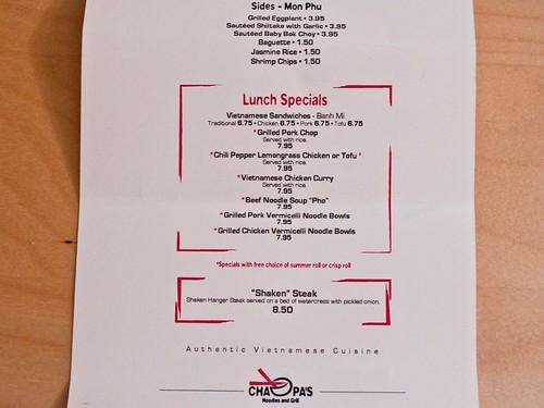 Cha Pa's menu
