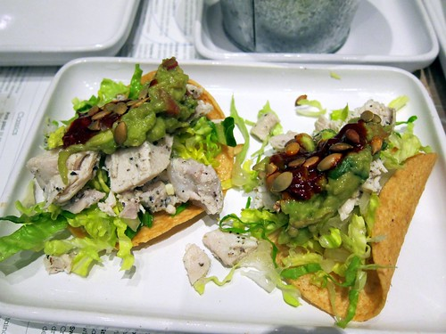 Chicken guajillo tostadas