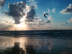 Kitesurfers on a quiet beach by Or Hiltch, on Flickr