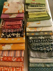 Fabric choices for the Single Girl QAL (JennyGoLightly) Tags: fabric quilting quilts denyseschmidt heatherross singlegirlquilt