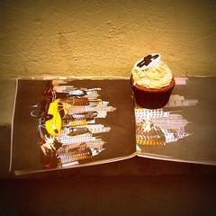 tea time (micamonster) Tags: auto food paris france color car yellow paper lomo europa europe tea chocolate comida cream wear rico amarillo cupcake te taste papel muffin francia crema magdalena raro sabroso