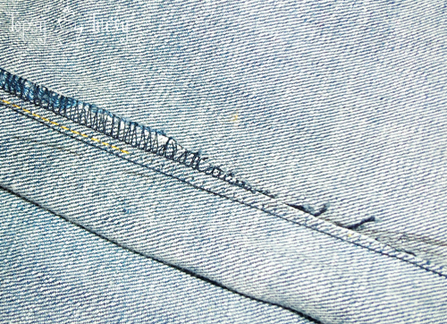bootcut to skinny jean makeover upcycled inside trimmed
