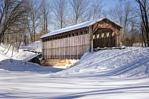 """Long shadows of Winter""    Fallassburg Covered Bridge, Lowell, Michigan"