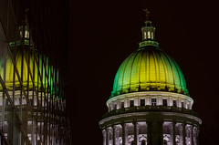Capitol Reflected (J_Knipper) Tags: building green yellow wisconsin gold shot state images packers capitol madison greenbay getty wi portalwisconsinorgselected portalwisconsinorg020911