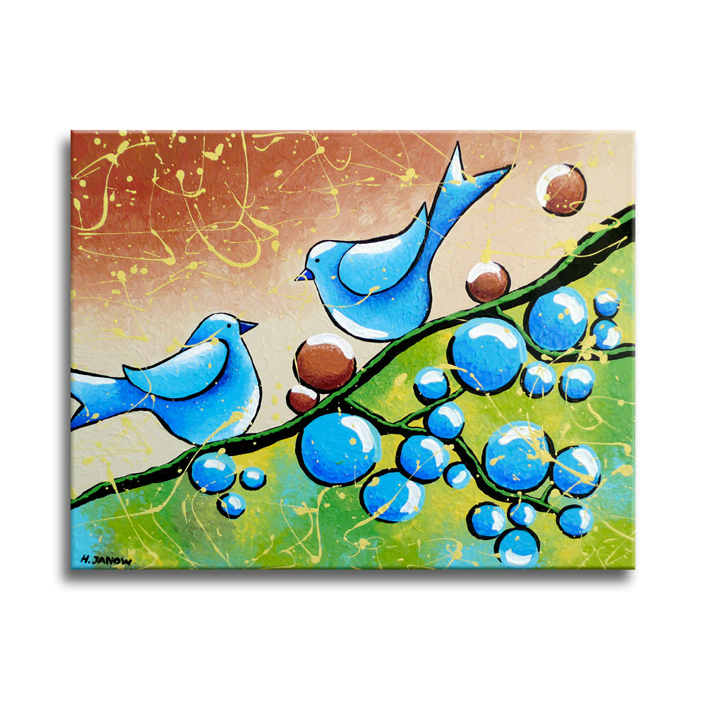 Blue Birds Painting Original Whimsical Folk Wall Art