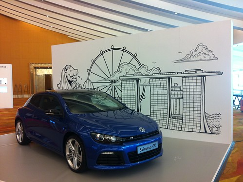 Singapore skyline backdrop illustration setup on site installation