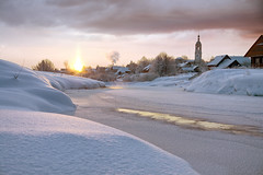 (dSavin) Tags: morning winter distortion snow ice church sunrise river coast russia radiance flame dome pairs     2011 russianvillage     smokeonthewater snowcover thinlayer  magneticstorms   heatingstoves    unusuallysun