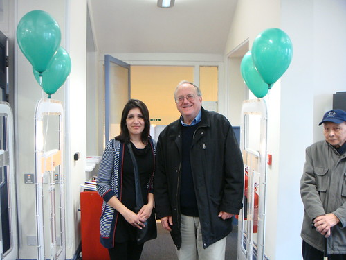 Councillors Bob Sullivan and Naheed Qureshi seen at the entrance to the Library