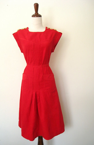 Toggle Button Scarlet Corduroy Dress, vintage 70's