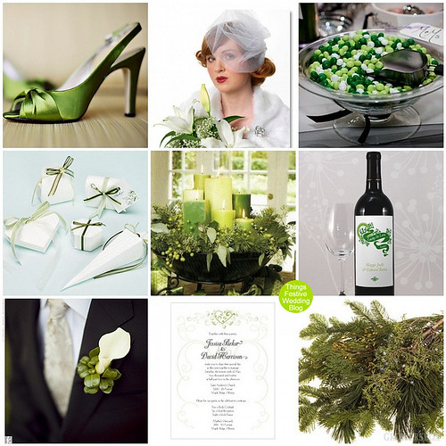 Green And White Winter Wedding