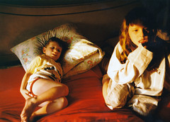 Siblings - Saturday Morning (Rachel Citron) Tags: portrait film childhood bedroom nostalgia grandmashouse kodakmoment domesticscene saturdaymorningcartoons andrewcitron rachelcitron kidsinpajamas
