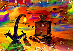 Coffee Dream (lennyart) Tags: sea musician music fish playing sexy art clock girl museum keys fun cards book cool notes time alice contemporaryart contemporary surrealism paintings piano chess illustrations poker violin salvador joker covers plays dali wonderland cosmos