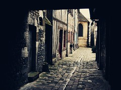 (Valentine G.) Tags: street france art vintage europe solitude lumire contraste porte normandie honfleur ruelle rue glise calvados ville bois ancien pav luminosit vieilli