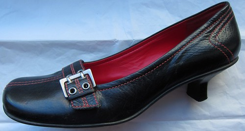 eBayed: Black Buckled Kitten Heels with red detailing from Kenneth Cole Reaction