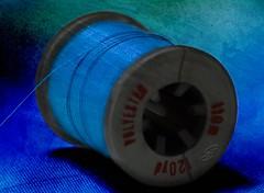 Holding On By A Thread (SavingMemories) Tags: blue thread vibrant sewing textures spool savingmemories holdingonbyathread suemoffett photoshopelements9