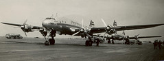 TWA Connie and DC4, southern France, late 1940s e (Proplinerman) Tags: france aircraft 1940s douglas twa airliner constellation skymaster dc4 c54 propliner transworldairlines l049 pistonliner