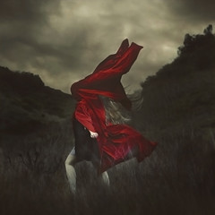 the feeling of traveling (brookeshaden) Tags: red storm mountains field clouds moody dream surreal cloth brookeshaden