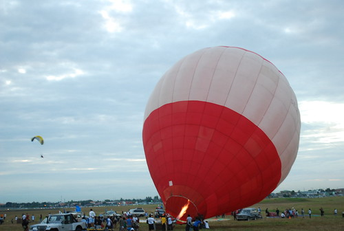 blowing the hot air balloon