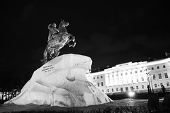 Peter the Great in Saint Petersburg, Russia (k.dmitrijewa) Tags: bw statue night digital canon stpetersburg lights russia saintpetersburg russie rusia spb sanpietroburgo peterthegreat  russland sanktpetersburg   sanpetersburgo  szentptervr  40d sopetersburgo canon40d  pennyjey