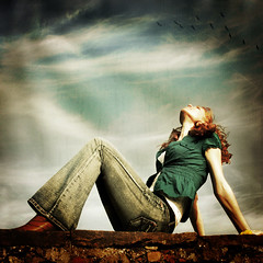 Take it easy! (~ Pixel Passion ~) Tags: red sky woman sun texture girl sunshine birds wall female clouds season relax happy mural shiny warm mood moody peace shine peaceful atmosphere happiness sunny kathrin enjoy harmony shooting summertime concept conceptual atmospheric springtime harmonic