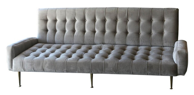 Silk Velvet Tufted Sofa 1950s $4500