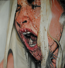 Deformed (Linnea Strid) Tags: portrait art water girl face painting drops artist bubbles scream oil deformed photorealism linneastrid