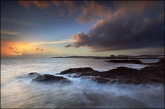 Elie Sunset (angus clyne) Tags: ocean road travel bridge blue light sunset red sea sky orange sun house mist storm west beach rain rock night river lens island shower gold bay coast scotland pier boat fishing europe long exposure ray ship glow angle wind time harbour fife angus path jetty south north wide scottish wave dry east hills beam forth filter shore lee hour sail 20mm dri elie firth clyne inslet colorphotoaward canon5dmarkii