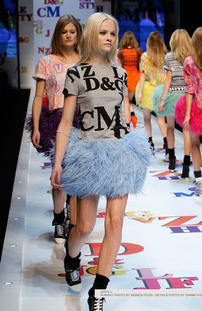 dolce and gabbana feather skirts winter 2012 blue